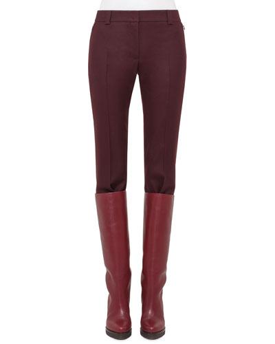 Stretch-Wool Slim-Leg Pants, Mangosteen