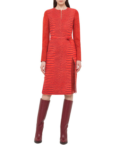 Mixed-Print Long-Sleeve Dress, Red