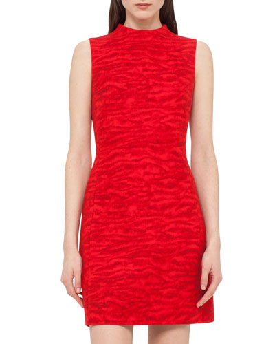 Tiger-Print Sleeveless Sheath Dress, Red