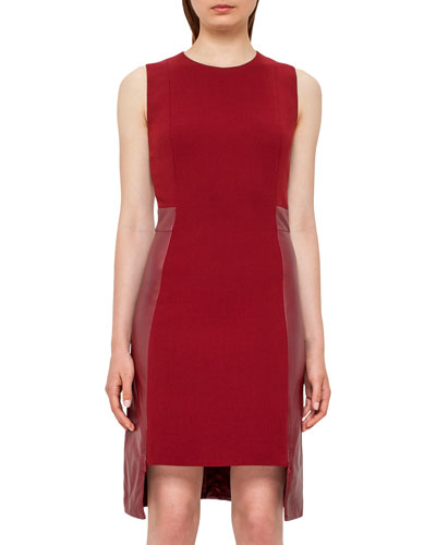 Leather-Panel Side-Zip Sleeveless Dress, Miracle Berry