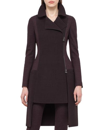 Colorblock High-Low Long Jacket, Caimito