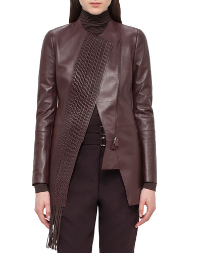 Woven-Panel Leather Long Jacket, Aubergine