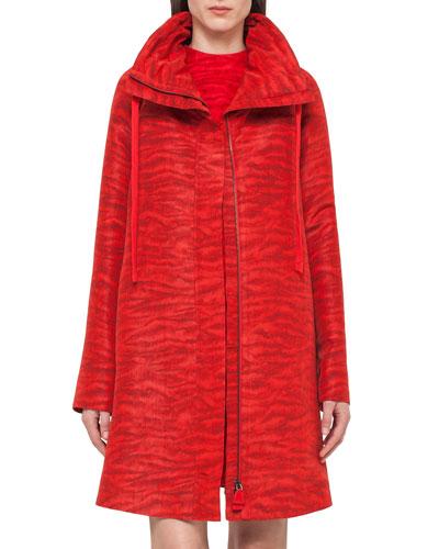 Tiger-Print Taffeta Long Coat, Red