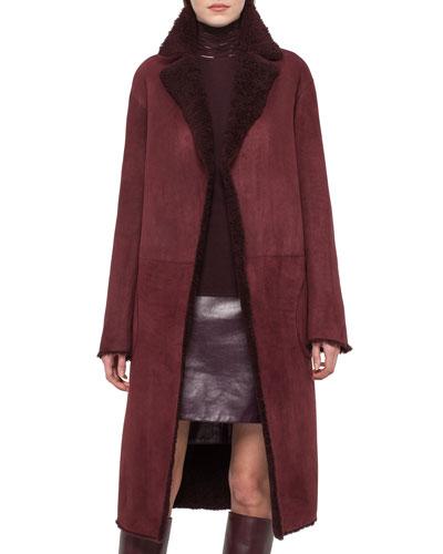 Long Reversible Shearling Fur Coat, Aubergine