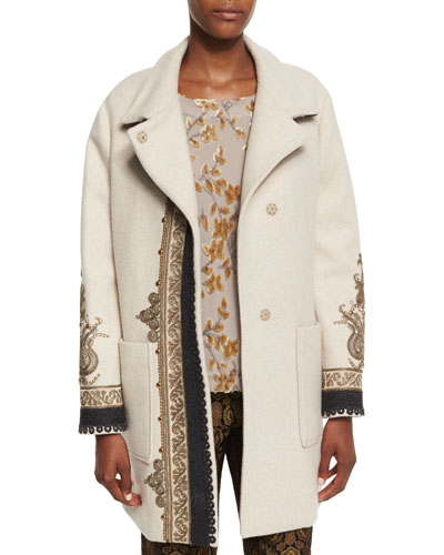 Embroidered Long Wool-Blend Coat, Ivory