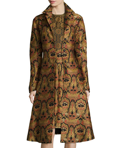 Tapestry A-Line Topper Coat, Gold