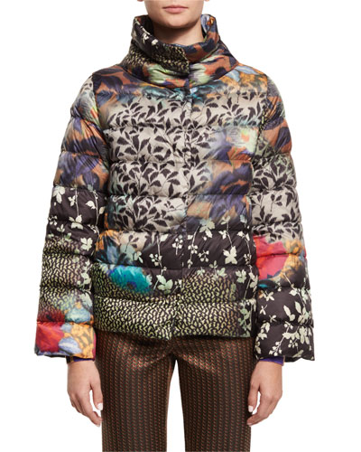 Floral-Airbrush Puffer Jacket, Multi
