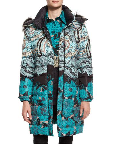 Fox-Trim Hooded Floral Puffer Jacket, Teal