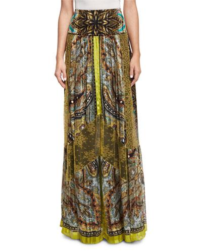 Paisley Stud-Print Maxi Skirt, Citrine