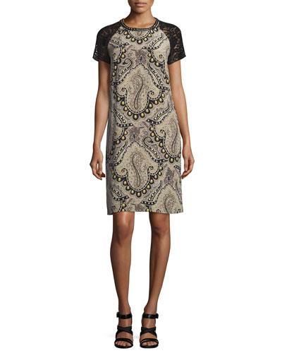 Stud-Print Lace-Sleeve Dress, Ivory
