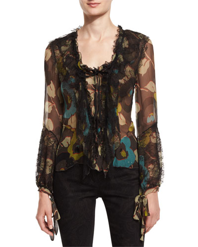 Floral Lace-Trim Ruffled Blouse, Turquoise/Green