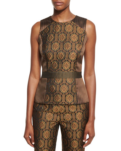 Mixed-Jacquard Sleeveless Fencing Top, Gold