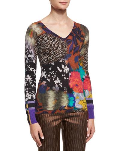 Floral Airbrush-Stamp V-Neck Sweater, Multi