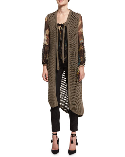 Fishnet Knit Long Vest, Taupe