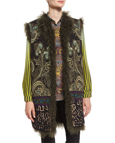 Intarsia-Knit Vest with Shearling Fur Reverse, Green