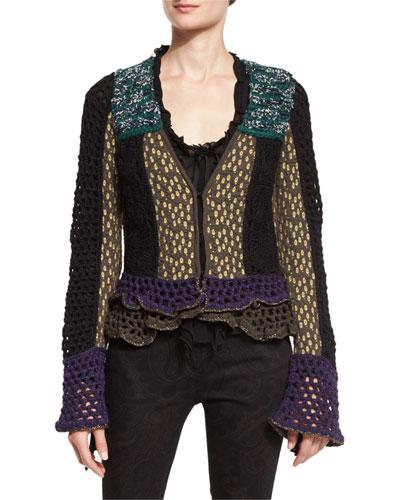 Crochet Ruffled-Trim Jacket, Black
