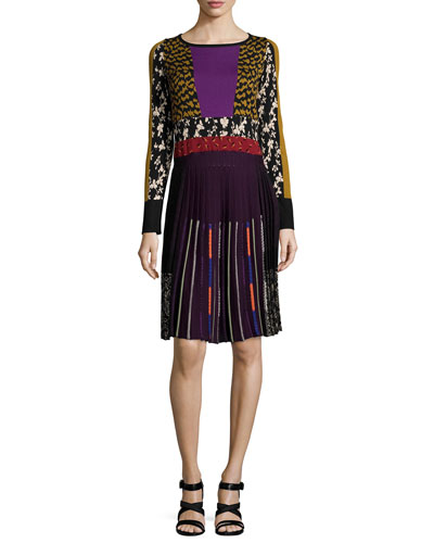 Pleated Intarsia-Knit Long-Sleeve Dress, Gold/Purple