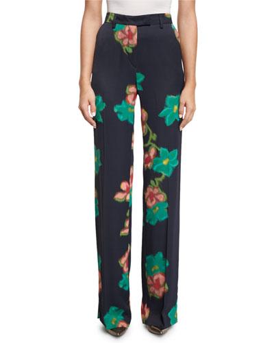 Floral Straight-Leg Pants, Black