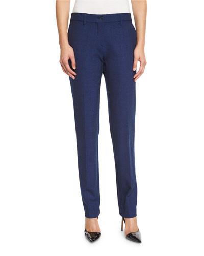 Melange Straight-Leg Pants, Navy