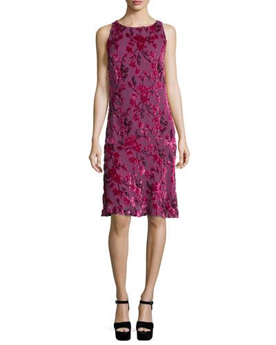 Velvet Sleeveless Flounce Dress, Fuchsia