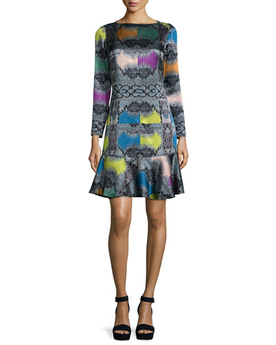 Paisley Diamond Long-Sleeve Flounce Dress, Rainbow