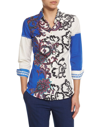 Paisley-Print Long-Sleeve Blouse, Blue/White