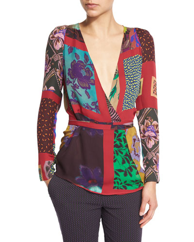 Patchwork Wrap Silk Blouse, Red