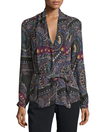 Zip & Stud Print Belted Blouse, Black