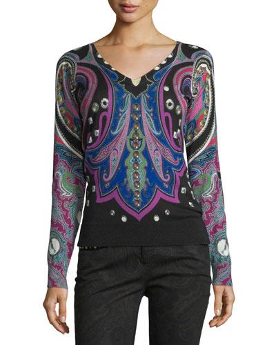 Stud-Print V-Neck Sweater, Black/Pink