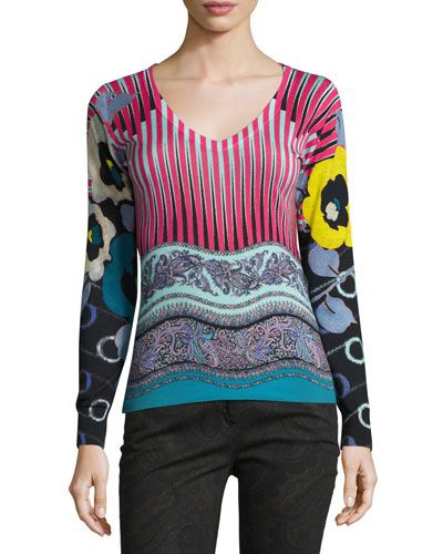 Mixed-Print V-Neck Sweater, Pink/Turquoise