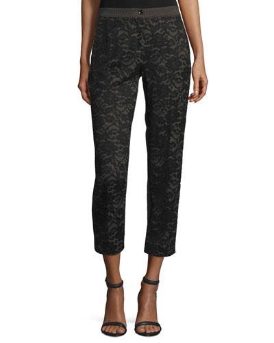 Lace & Jacquard Cropped Pants, Black/Brown
