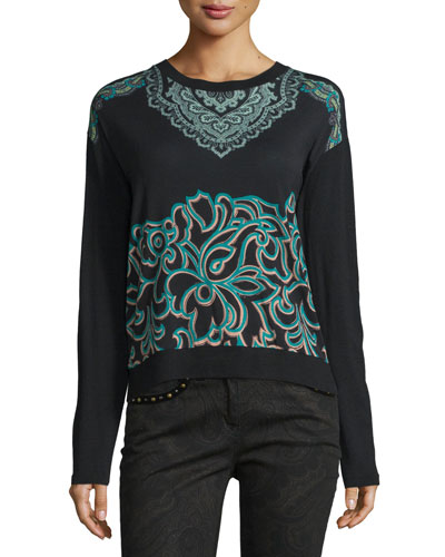 Scroll-Paisley Crewneck Sweater, Turquoise/Black