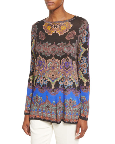 Paisley Scoop-Neck Long-Sleeve Tee, Blue