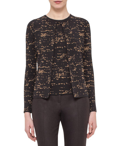 Gnu-Jacquard One-Button Cardigan, Date/Steppe