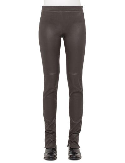 Stretch-Lambskin Skinny Pants, Date