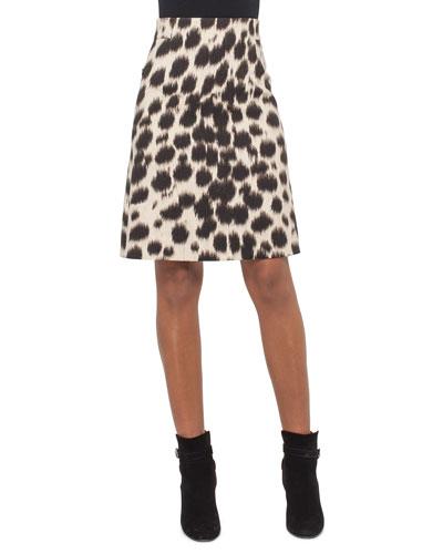 Cheetah-Print A-Line Skirt, Date/Steppe
