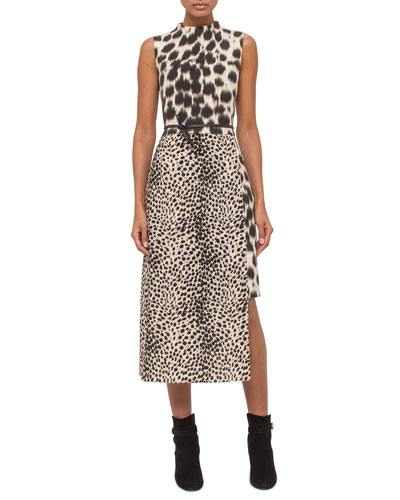 Cheetah-Print Asymmetric-Hem Dress, Date Steppe