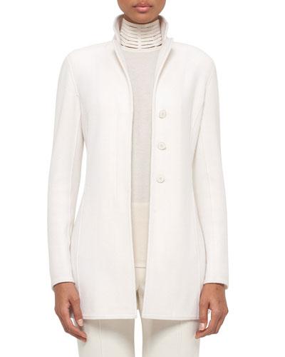 Cashmere Hidden-Button Long Jacket, White Pepper