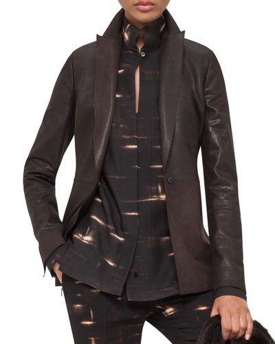 Shiny Suede Elongated-Lapel Jacket, Date