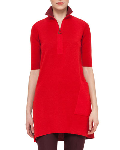 Half-Sleeve Half-Zip Tunic Sweater, Pomegranate/Miracle