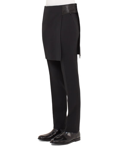 Skirt-Overlay Massai-Detail Pants, Black