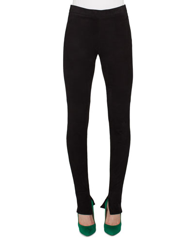 Stretch-Knit Skinny Pants, Black