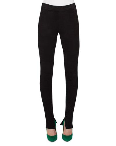Stretch-Knit Skinny Pants, Black