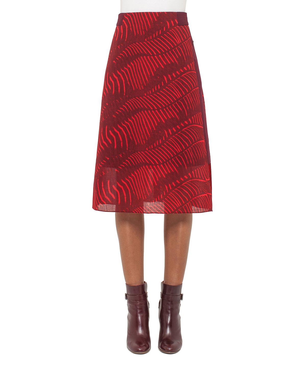 Zebra-Print A-Line Midi Skirt, Pomegranate