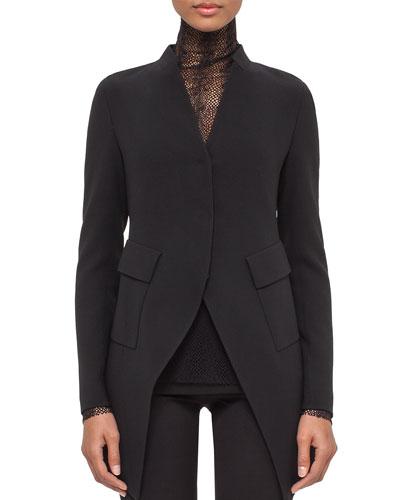 Peaked-Hem Long Jacket, Black