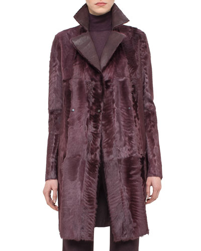 Reversible Shearling Fur Coat, Camito