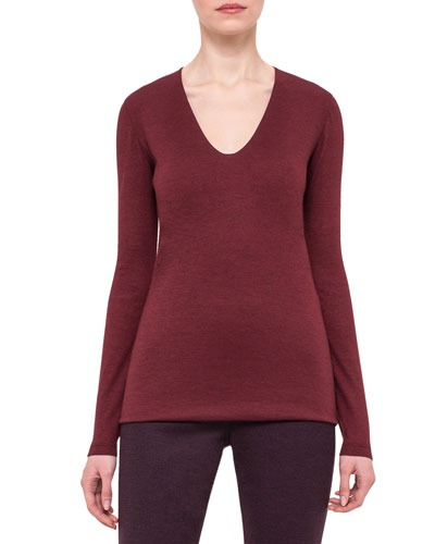 Scoop-Neck Long-Sleeve Tee, Mangosteen