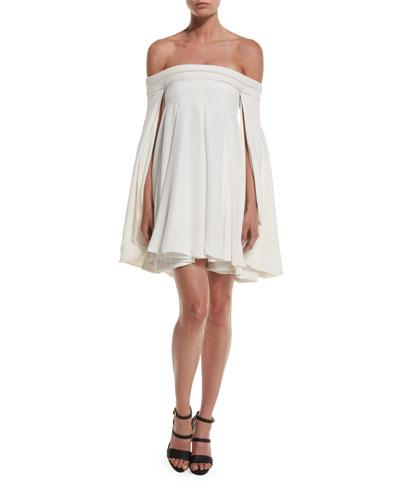Off-the-Shoulder Swing Cocktail Dress, Ivory