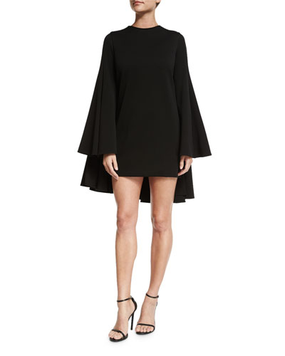 Long-Sleeve Pleated-Back Cocktail Dress, Black