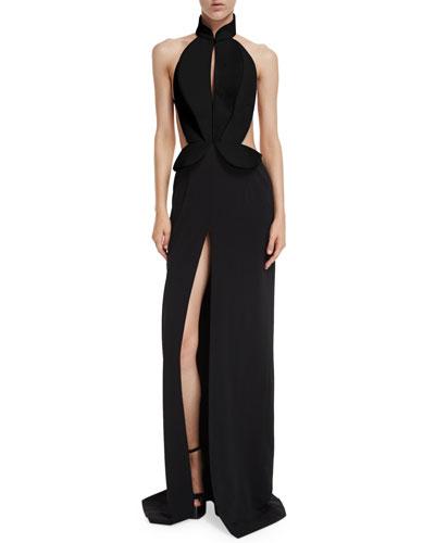 Sleeveless Cutout Tuxedo Gown, Black
